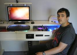 Pc Built Into A Desk Harpenden Student Builds Pc Into Glass Desk Education Herts