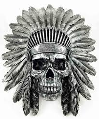 indian chief skull warrior wall hanging figurine home decor plaque