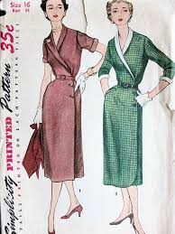 1950s vintage silm wrap around dress pattern simplicity 4405