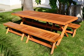 Plans For Building A Picnic Table With Separate Benches by Redwood Rectangular Folding Picnic Table With Fold Up Legs