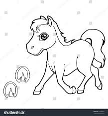 paw print horse coloring pages vector stock vector 323280656