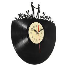 kiwarm modern lover pattern vinyl record hanging clock figurines
