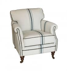linen chair striped linen and blue club chair