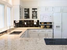 white spring granite as interior material for futuristic kitchen