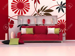 Red Sofas In Living Room Interior Of The Modern Room Floral Wall And Red Sofa Stock Photo