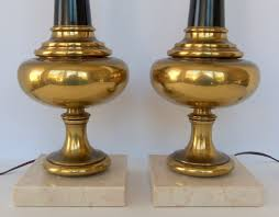 vintage stiffel brass lamp pair hollywood regency omero home