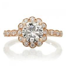 vintage halo engagement rings 7mm vintage design scallops halo engagement ring 18k gold