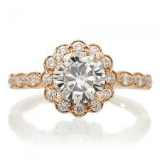 moissanite vintage engagement rings 7mm vintage design scallops halo engagement ring 18k gold
