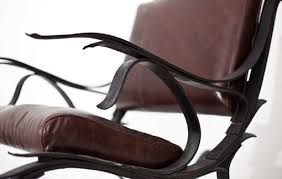 Lucite Rocking Chair Hand Made Steel And Leather Leaf Spring Rocking Chair By Iron