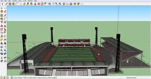 create the design of a stadium with sketchup