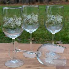 wine glass gift napa valley pinecone16 oz etched wine glass gift sets cabin place