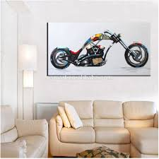 handmade simple colors abstract modern motorbike oil painting on