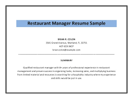 Resume Synopsis Sample by Restaurant Manager Resume Sample Pdf