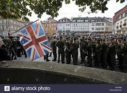 German British Flag British Troops March Through German Garrison Town Stock Photo