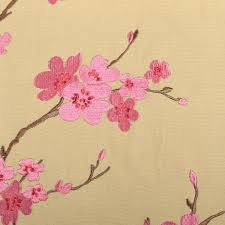 Cherry Blossom Upholstery Fabric Seaford Linen Blend Embroidery Collection Book 2843 Lakewood
