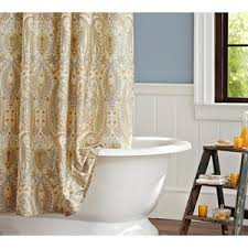 Neutral Shower Curtains Blythe Paisley Organic Shower Curtain Neutral Polyvore