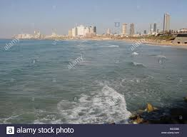 israel tel aviv skyline and seafront as seen from south stock