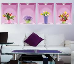flower vase removable 3d vinyl wall sticker home decor wall decals