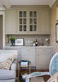 Glass Door Bar Cabinet Transitional Living Room Boasts Neutral Built In Bar Hgtv
