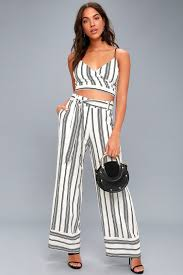 black and white jumpsuit chic black and white two set striped jumpsuit
