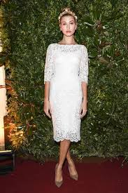 hailey baldwin little white lace long sleeve cocktail dress milan