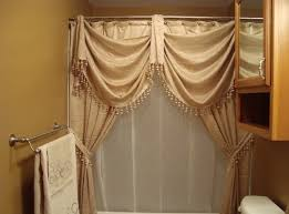 Double Swag Shower Curtain With Valance Elegant Tie Back Shower Curtains Best Curtains Design 2016