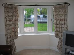 decor bay window curtain rod with pattern curtains and window
