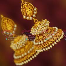 jhumka earrings online shopping j3430 temple laxmi indian jewellery god design gold plated