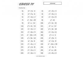 30 question algebra worksheet for factorising equations