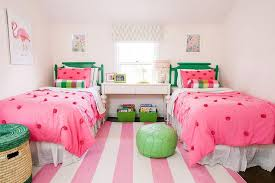 Pink Rug For Girls Room Pink And Green Girls Bedroom With Pink Rugby Striped Rug