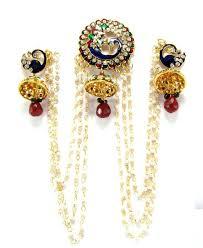 bengali earrings buy peacock style faux pearl kundan cz gold tone bridal bun pin