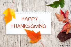 happy thanksgiving greeting text in note pad stock photo and