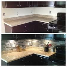 Stone Veneer Kitchen Backsplash My Before And After Kitchen Using Airstone Home Ideas