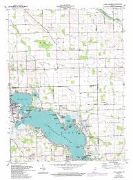 Indiana Road Map Lake Wawasee Topographic Map In Usgs Topo Quad 41085d6