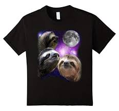 3 Wolf Moon Meme - sloths in outer space sloth shirt three wolf moon parody meme t