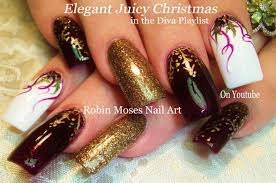gold snowflakes and holly diy christmas diva nail art design