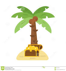 Cateracterum Palm by Treasure Chest And Green Palm Tree Vector Illustration Stock