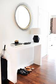 White Foyer Table Black French Mirror With Wood Console Table Transitional With