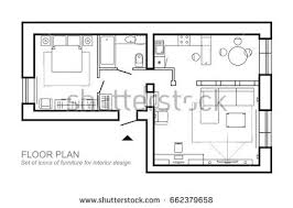 design house layout architecture plan furniture house floor plan stock vector