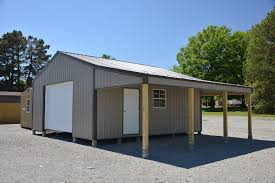 this is a continous roof storage barn that features two lean tos