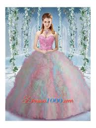 fifteen dresses rainbow colored big sweet fifteen dresses with beading and