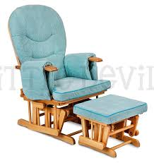 Baby Blue Cushions Luxurious Hush Hush Solid Oak Wood Glider Chair With Baby Blue