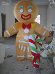 mascot costumes for halloween sales gingerbread man mascot costume size hula