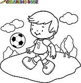 clip art coloring book boy playing soccer k22255797