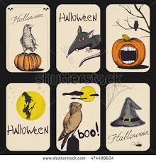 vector set vintage halloween greeting cards stock vector 474499624