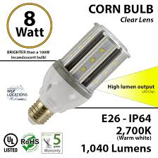 8 watt led corn bulb 1 040 lm 100w replacement 2 700k ip64 e26 ul