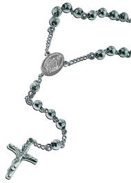 catholic stainless steel rosary 18 inches necklace with