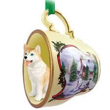 husky ornament figurine teacup white blue eye