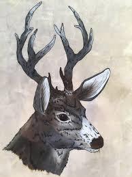 deer home decor deer buck mule deer oil painting painted glass framed art home