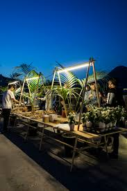 post standards rooftop party design palm tree table visit